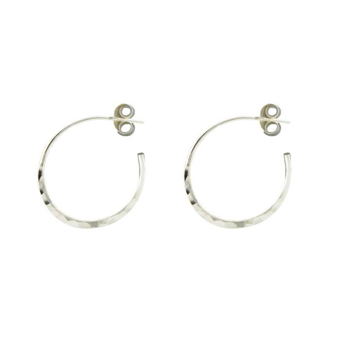 Mark Steel Post Hammered Hoop Sterling Silver Earring 20mm