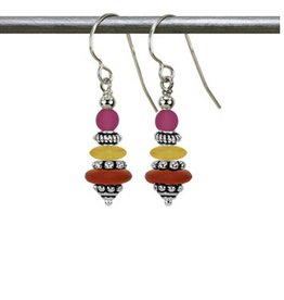 Austin Cake Earrings Topaz and fuchsia