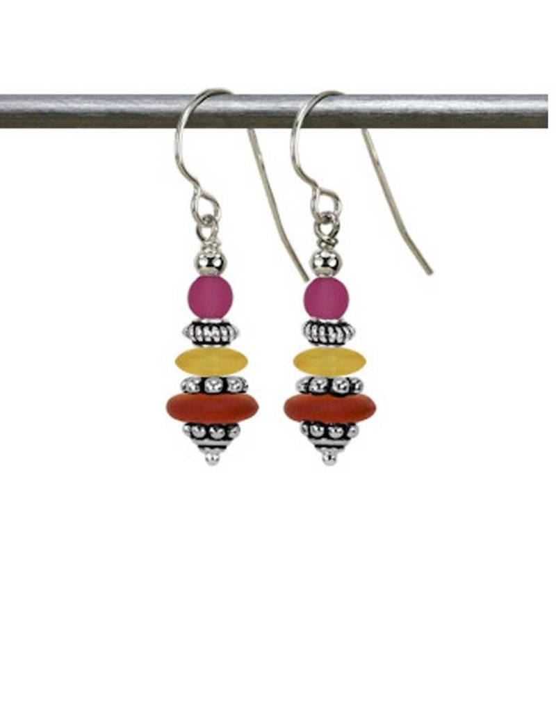 Austin Design Earrings Topaz and fuchsia