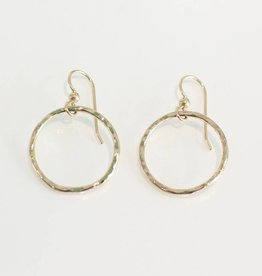 Christine Powers Circle 14KGF Small Hand Hammered Earrings