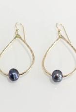 Christine Powers Teardrop 14KGF Freshwater Pearl Grey Hand Hammered Earrings