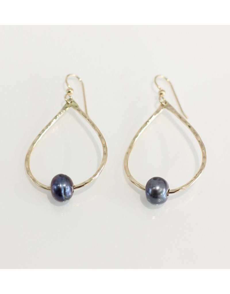 Christine Powers Teardrop 14KGF Freshwater Pearl Grey Hand Hammered Earrings