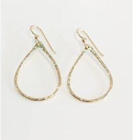 Christine Powers Teardrop 14KGF Hand Hammered Earrings