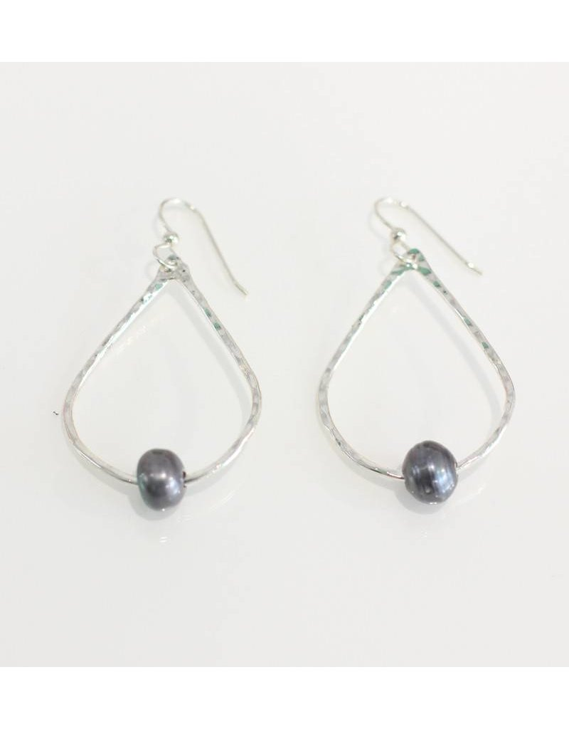 Christine Powers Teardrop Sterling Silver Freshwater Pearl Grey Hand Hammered Earrings