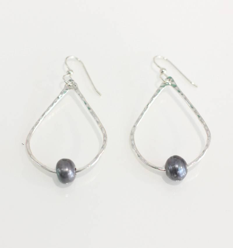 Christine Powers Teardrop Sterling Silver Freshwater Pearl Grey Hand Hammered Earrings