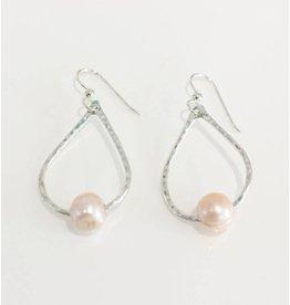 Christine Powers Teardrop Sterling Silver Freshwater Pearl Rose Pink Hand Hammered Earrings