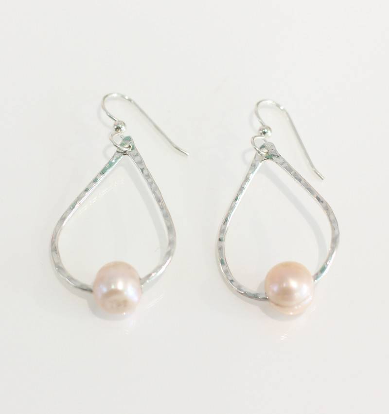 Christine Powers Teardrop Sterling Silver Freshwater Pearl Rose Pink Hand Hammered Earrings