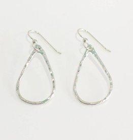 Christine Powers Teardrop Sterling Silver Medium Hand Hammered Earrings