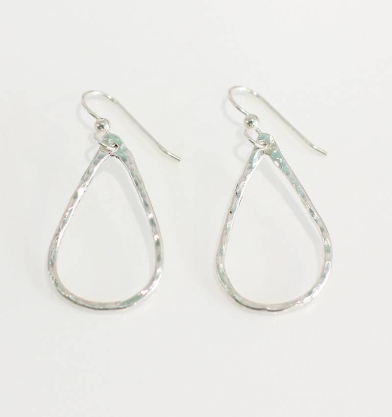 Christine Powers Teardrop Sterling Silver Lightweight Hand Hammered Earrings