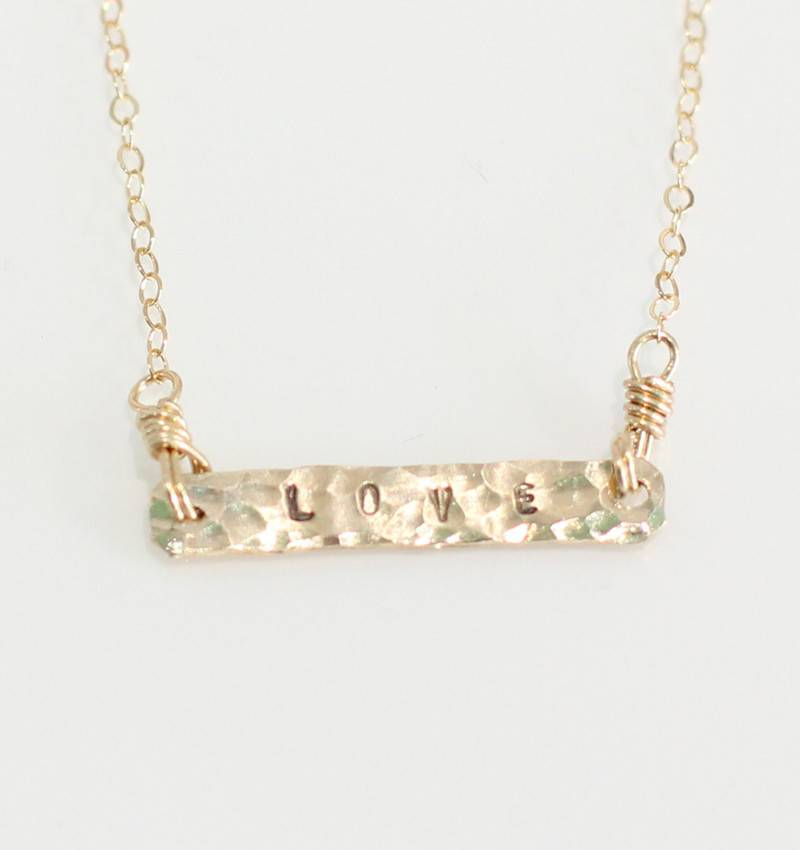 Christine Powers Love Bar 14KGF Hand Hammered Necklace