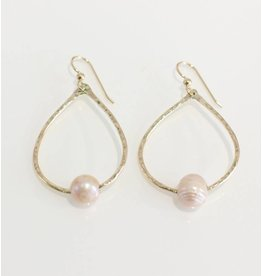Christine Powers Teardrop 14KGF Freshwater Pearl Rose Pink Hand Hammered Earrings