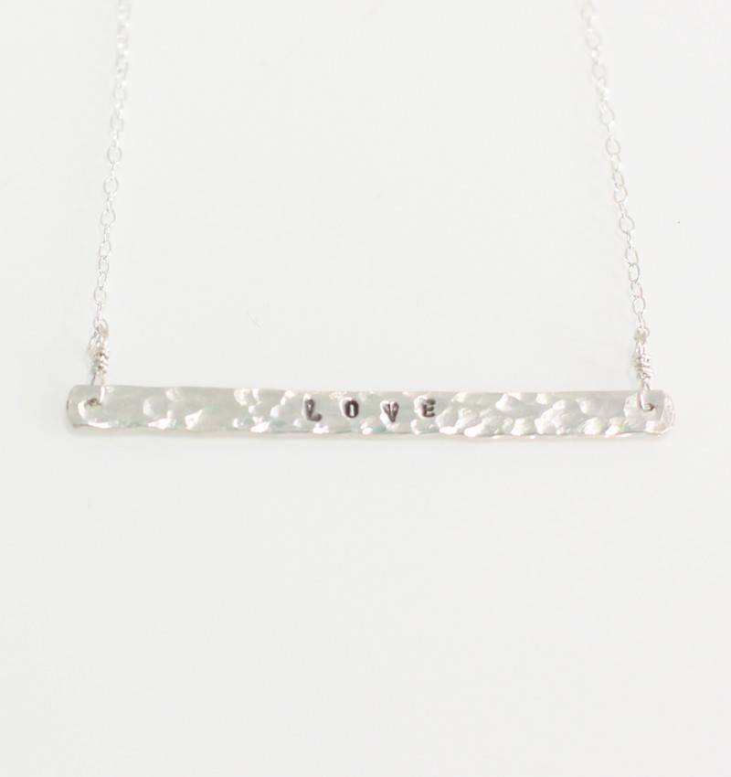 Christine Powers Love Bar Sterling Silver Hand Hammered Necklace