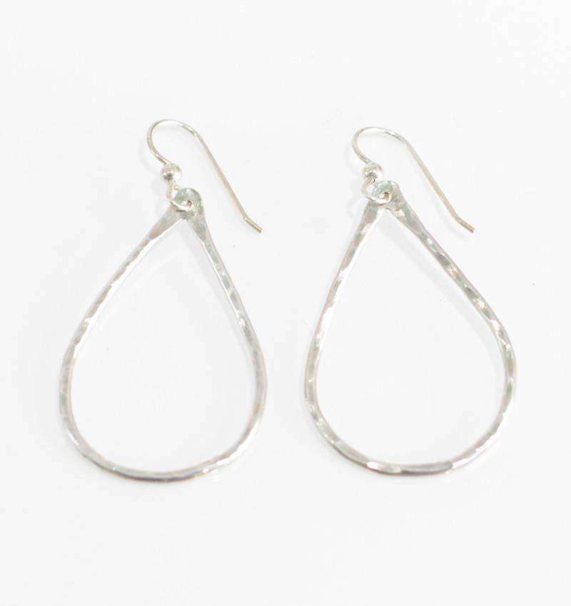 Christine Powers Teardrop Sterling Silver Hand Hammered Earrings