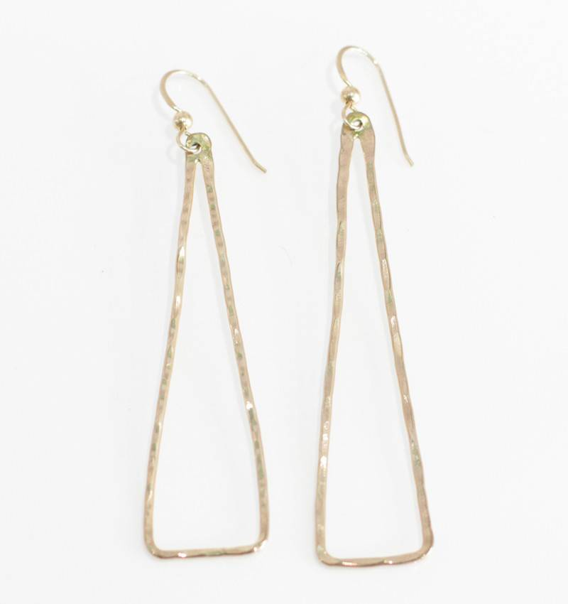 Christine Powers Triangle 14KGF Hand Hammered Earrings