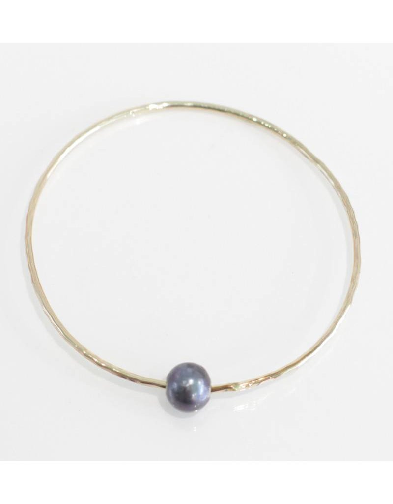 Christine Powers Bangle 14KGF Freshwater Pearl Grey Bracelet