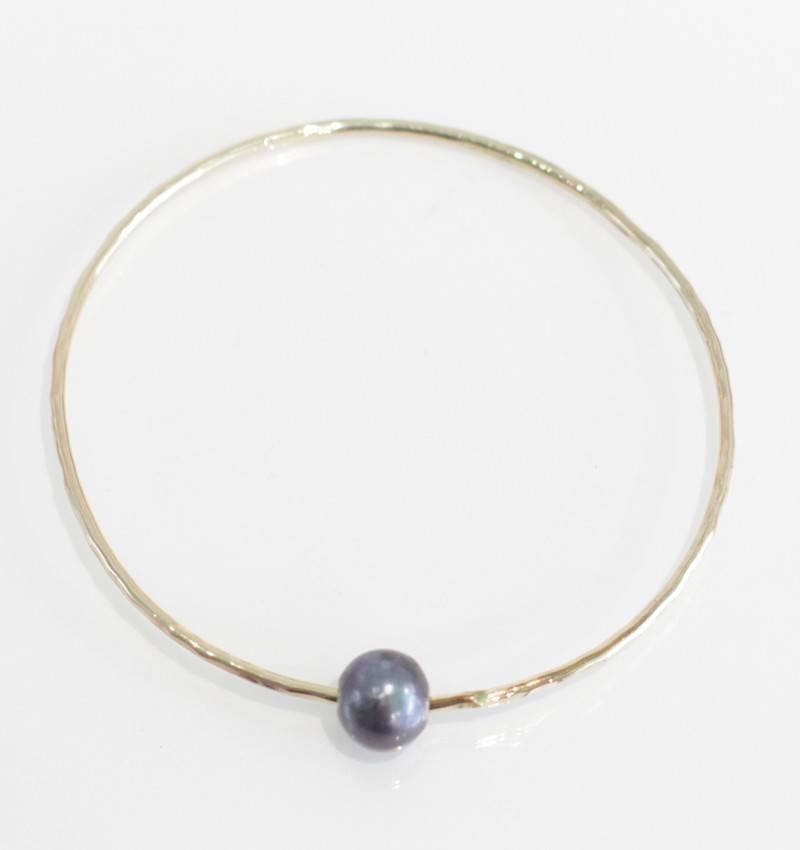 Christine Powers Bangle 14KGF Freshwater Pearl Grey Bracelet