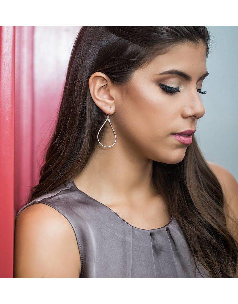 Christine Powers Teardrop Sterling Silver Hand Hammered Earrings