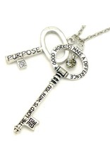 Good Work Annointed Keys Luke 1:28 Brushed Silver Necklace