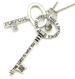 Good Work Annointed Keys Luke 1:28 Brushed Silver Necklace