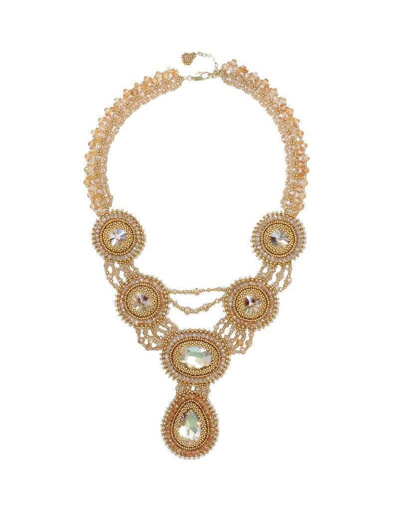 Esmeralda Lambert Gold Crystal Handwoven Statement Necklace