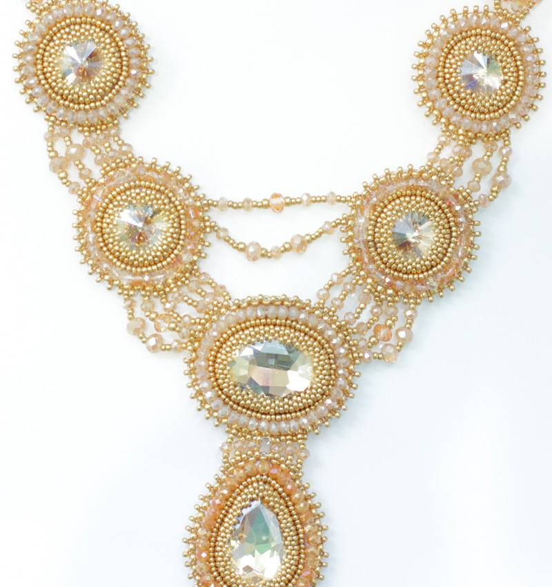 Esmeralda Lambert Gold Crystal Handwoven Statement Necklace