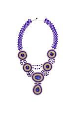 Esmeralda Lambert Blue Gold Crystal Handwoven Statement Necklace