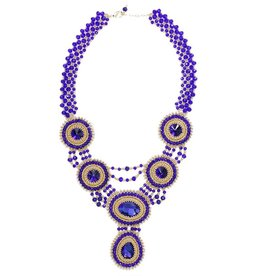 Esmeralda Lambert Blue Gold Crystal Handwoven Statement Necklace