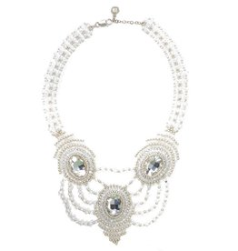 Esmeralda Lambert Silver Clear Crystal Handwoven Statement Necklace