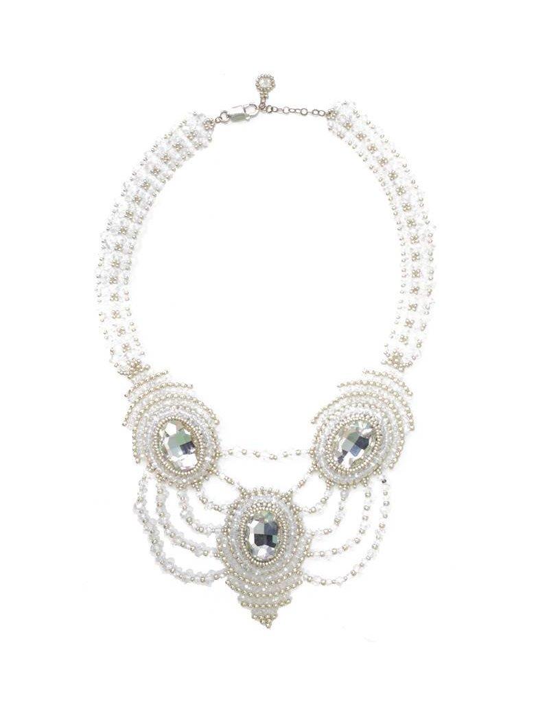 Esmeralda Lambert Silver Clear Crystal Handwoven Statement Necklace