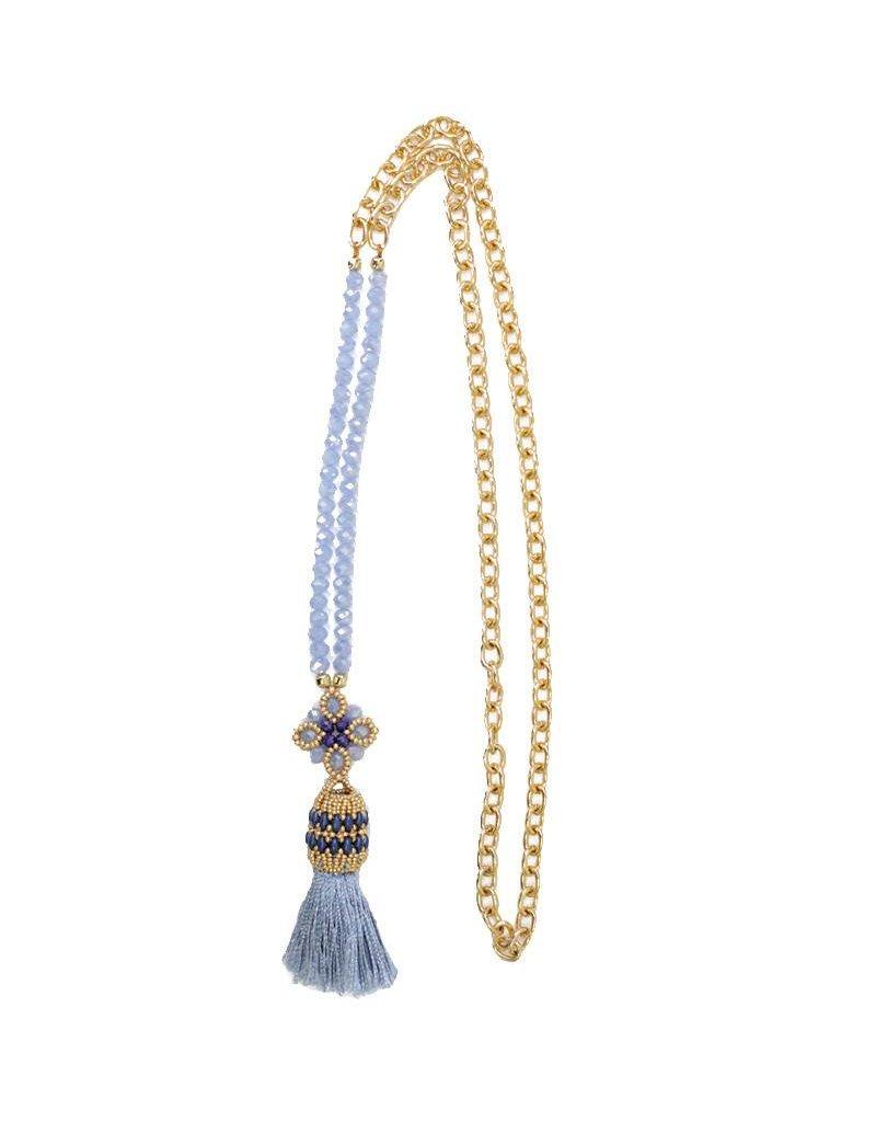 Esmeralda Lambert Tassel Chain Handwoven Gold Necklace MN157