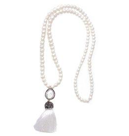 Esmeralda Lambert White Freshwater Pearl Tassel Necklace