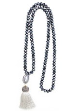 Esmeralda Lambert Charcoal Grey Tassel Pearl Crystal Necklace