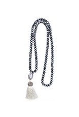 Esmeralda Lambert Charcoal Grey Tassel Pearl Crystal Necklace
