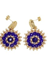 Esmeralda Lambert Blue Gold Crystal Handwoven Earrings