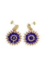 Esmeralda Lambert Blue Gold Crystal Handwoven Earrings