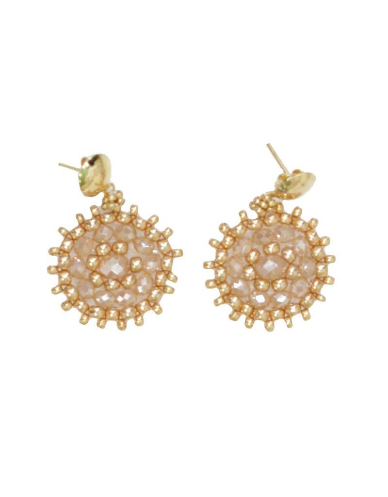 Esmeralda Lambert Gold Crystal Handwoven Earrings