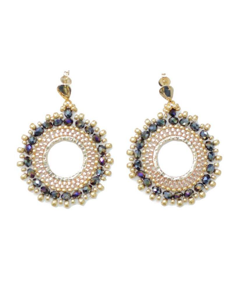 Esmeralda Lambert Lynda - Mystic Black Gold Crystal GF Handwoven Earring