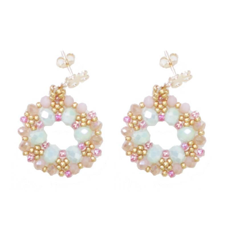 Esmeralda Lambert Light Blue Pink Gold Crystal GF Handwoven Earring