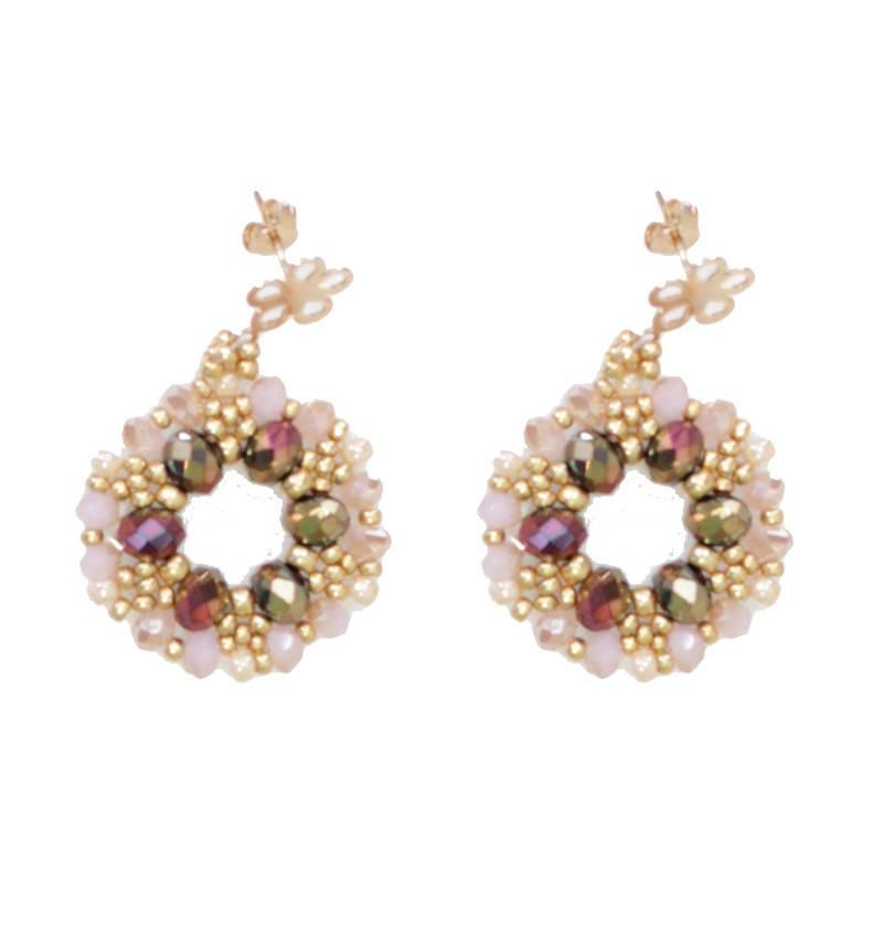 Esmeralda Lambert Metallic Pink Gold Crystal GF Handwoven Earring