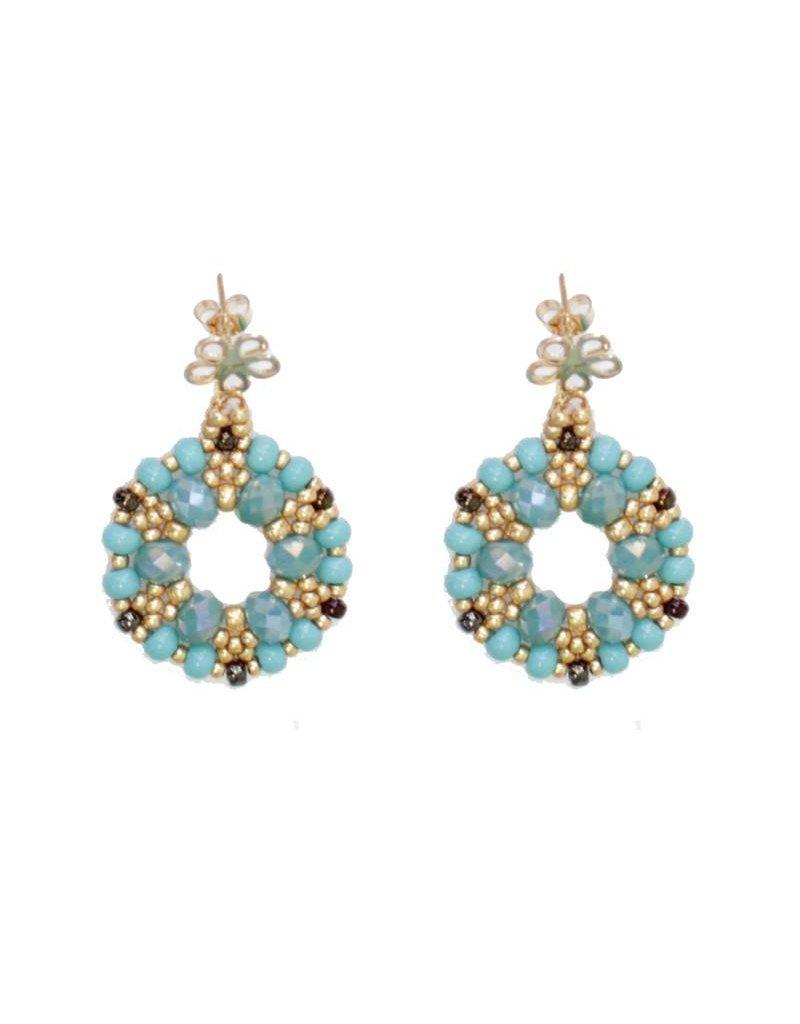 Esmeralda Lambert Turquoise Gold Crystal GF Handwoven Earring