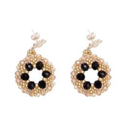 Esmeralda Lambert Black Gold Crystal GF Handwoven Earring