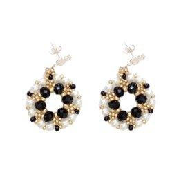 Esmeralda Lambert Black Pearl Gold Crystal GF Handwoven Earring