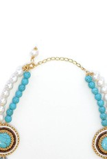 Esmeralda Lambert Turquoise Freshwater Pearl Gold Crystal Handwoven Statement Necklace