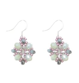 Esmeralda Lambert Light Green Silver Purple Crystal SS Handwoven Earring