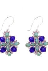 Esmeralda Lambert Blue Turquoise Purple Crystal SS Handwoven Earring