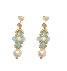 Esmeralda Lambert Light Blue Pearl Crystal Gold Handwoven Earring