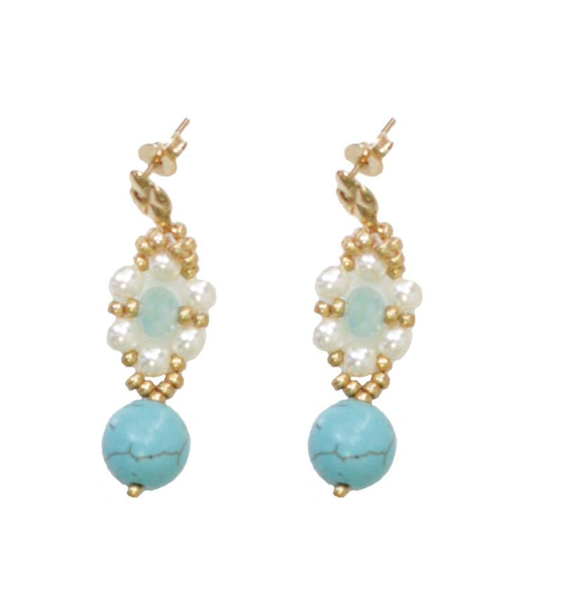 Esmeralda Lambert Turquoise Pearl Crystal Gold Handwoven Earring