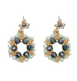 Esmeralda Lambert Green Gold Crystal GF Handwoven Earring