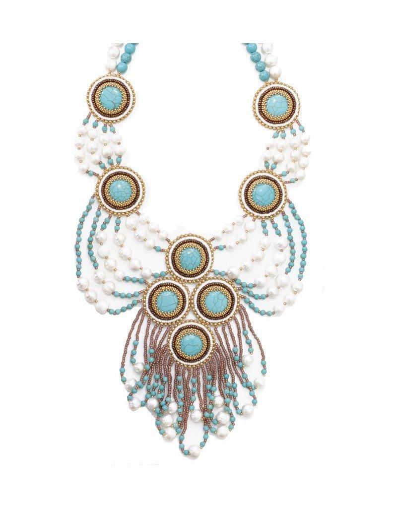 Esmeralda Lambert Turquoise Freshwater Pearl Gold Crystal Handwoven Statement Necklace