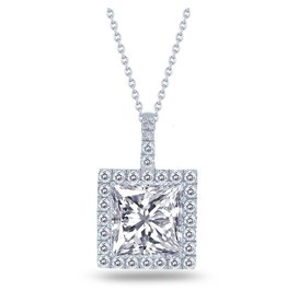 Estella J Platinum Over Sterling Silver 3.37ct CZ Halo Square Pendant Necklace